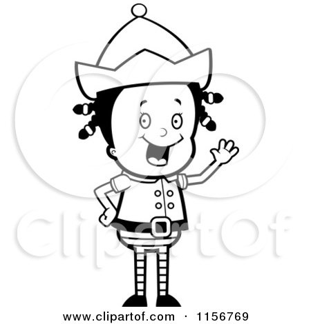 Cartoon Clipart Of A Black And White Christmas Elf Girl Waving - Vector Outlined Coloring Page by Cory Thoman