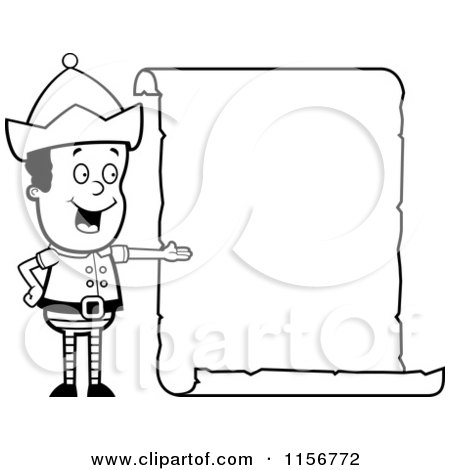 cartoon clipart of a black and white christmas elf boy presenting a blank scroll sign vector outlined coloring page by cory thoman