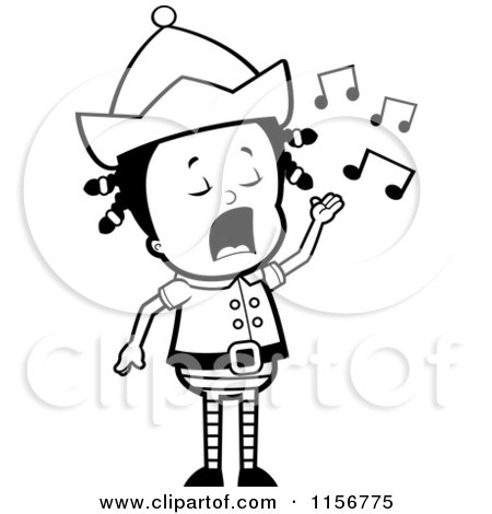 Cartoon Clipart Of A Black And White Little Elf Girl Singing - Vector Outlined Coloring Page by Cory Thoman