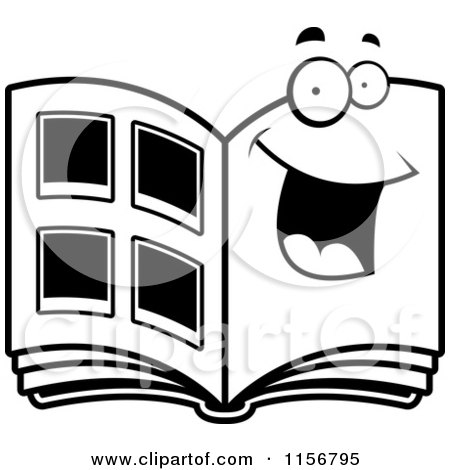 Cartoon Clipart Of A Black And White Happy Photo Album