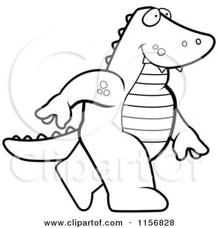 preview clipart black and white alligator walking upright