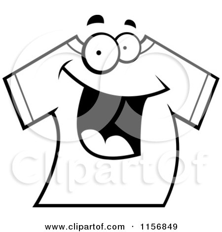 Cartoon Clipart Of A Black And White Happy Smiling T Shirt - Vector Outlined Coloring Page by Cory Thoman