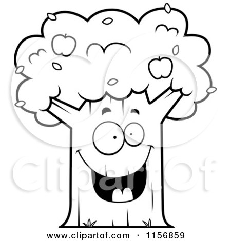 Cartoon Clipart Of A Black And White Happy Apple Tree - Vector Outlined Coloring Page by Cory Thoman