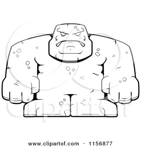 black and white bulky stone golem man
