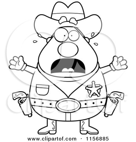 Cartoon Clipart Of A Black And White Plump Scared Sheriff - Vector Outlined Coloring Page by Cory Thoman
