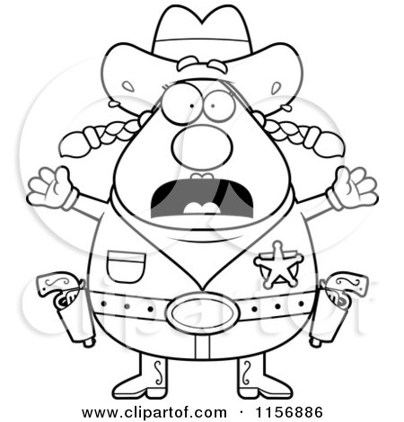 Cartoon Clipart Of A Black And White Fearful Plump Female Sheriff - Vector Outlined Coloring Page by Cory Thoman