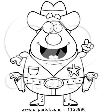 Cartoon Clipart Of A Black And White Plump Sheriff with an Idea - Vector Outlined Coloring Page by Cory Thoman