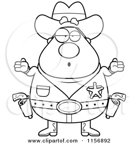 Cartoon Clipart Of A Black And White Plump Cowboy Sheriff Shrugging - Vector Outlined Coloring Page by Cory Thoman