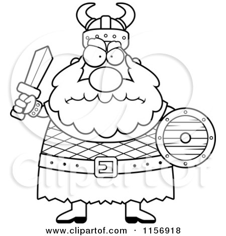 Cartoon Clipart Of A Black And White Chubby Mad Viking Man Holding a ...