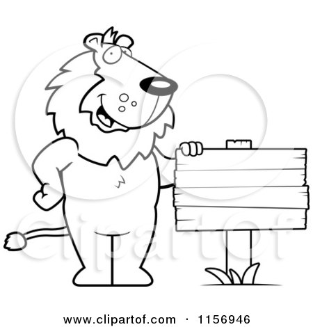 Cartoon Clipart Of A Black And White Friendly Lion Standing by a Blank Wood Sign - Vector Outlined Coloring Page by Cory Thoman