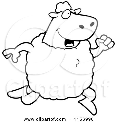 Cartoon Clipart Of A Black And White Sheep Running Upright - Vector Outlined Coloring Page by Cory Thoman