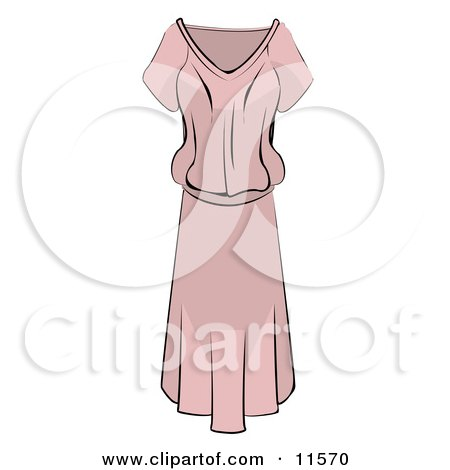 Ladies Light Pink Dress Clipart Picture by AtStockIllustration