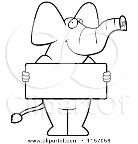 Elephant Holding A Flower Coloring Page : Cartoon Clipart Of A Black And White Elephant Holding A Sign Vector Outlined Coloring Page by ...