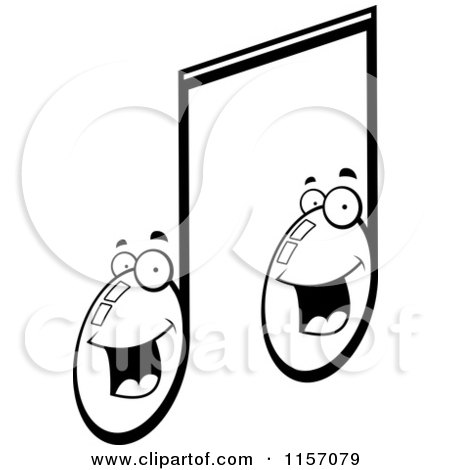 cartoon clipart of a black and white happy smiling double music note character vector outlined coloring page by cory thoman
