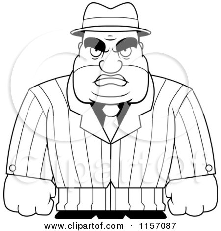 Cartoon Clipart Of A Black And White Tough Male Mobster - Vector Outlined Coloring Page by Cory Thoman