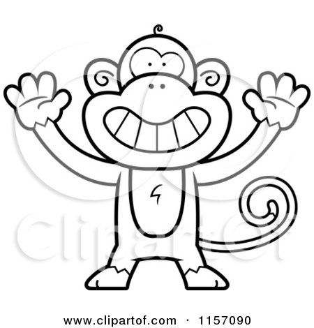 Cartoon Clipart Of A Black And White Monkey Holding His