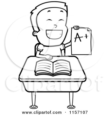 School Cartoon Drawing Cartoon Clipart of a Black And