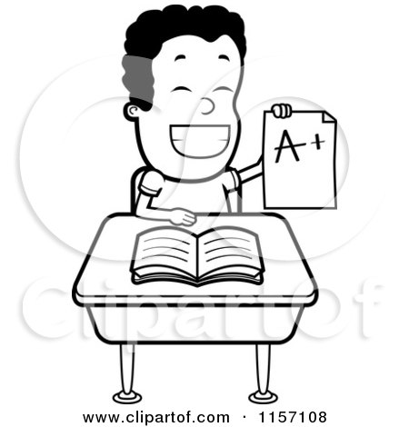 Cartoon Clipart Of A Black And White Happy Boy Holding up an a Plus Report Card at His Desk - Vector Outlined Coloring Page by Cory Thoman