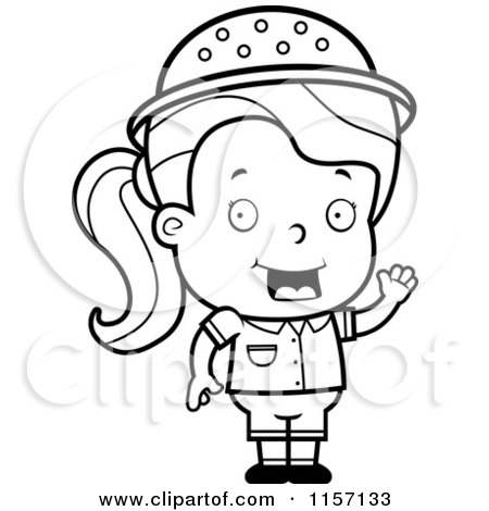 Cartoon Clipart Of A Black And White Safari Girl With An