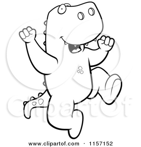 Cartoon Clipart Of A Black And White Happy T Rex Jumping
