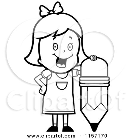 Cartoon Clipart Of A Black And White School Girl Leaning on a Stubby Pencil - Vector Outlined Coloring Page by Cory Thoman