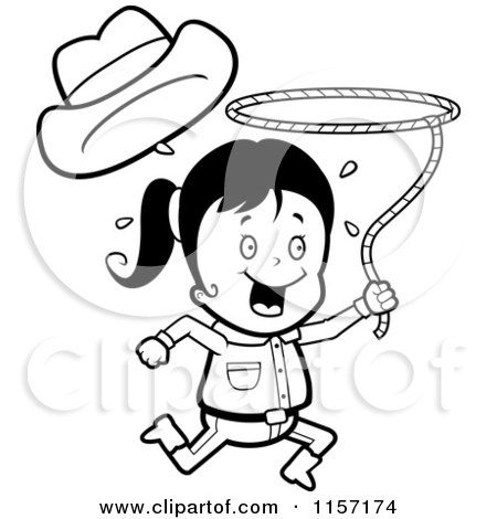 Cartoon Clipart Of A Black And White Happy Cowgirl Running and Swinging a Lasso - Vector Outlined Coloring Page by Cory Thoman