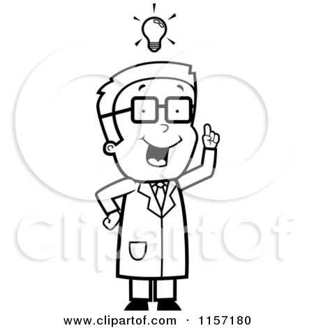 Cartoon Clipart Of A Black And White Smart Scientist Boy