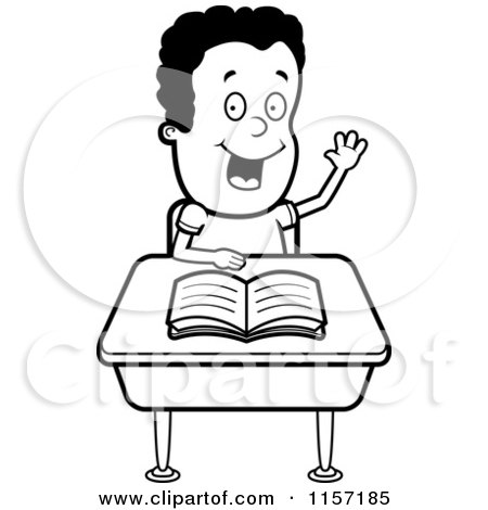 student desk clipart black and white. black and white smart boy sitting at a desk with his hand raised student clipart