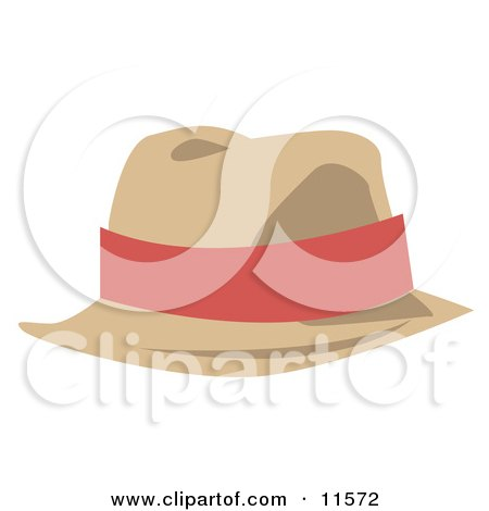 Tan Hat With a Pink Band Clipart Picture by AtStockIllustration