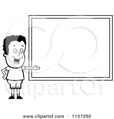 Cartoon Clipart Of A Black And White School Boy Presenting a Chalk Board - Vector Outlined Coloring Page by Cory Thoman