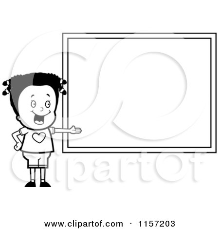 Cartoon Clipart Of A Black And White School Girl Presenting a Blank Chalkboard - Vector Outlined Coloring Page by Cory Thoman