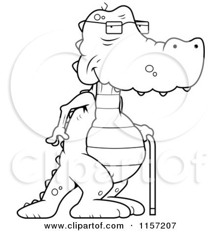 preview clipart black and white old alligator using a cane