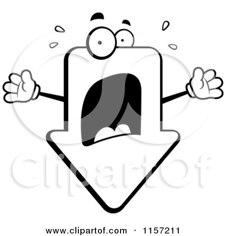 Cartoon Clipart Of A Black And White Panicked Arrow Freaking out - Vector Outlined Coloring Page by Cory Thoman