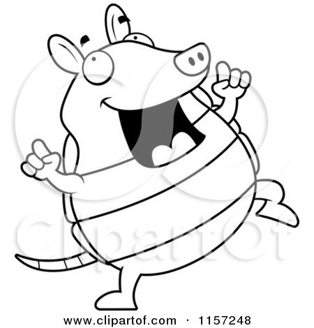 Cartoon Clipart Of A Black And White Happy Armadillo Dancing - Vector Outlined Coloring Page by Cory Thoman