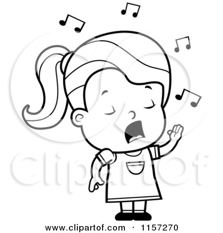 Cartoon Clipart Of A Black And White Girl Singing - Vector ...