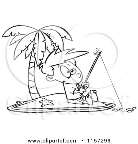 Cartoon Clipart Of A Black And White Boy Fishing on a Tropical Island - Vector Outlined Coloring Page by toonaday