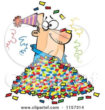 Cartoon of a Man in a Pile of Party Confetti - Royalty Free Vector Clipart by toonaday