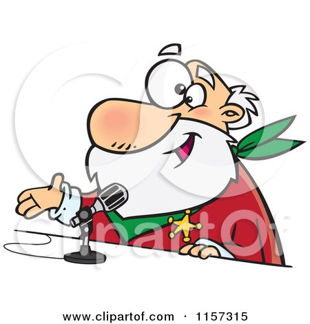 Cartoon of a CRS Santa Speaking into a Microphone - Royalty Free Vector Clipart by toonaday