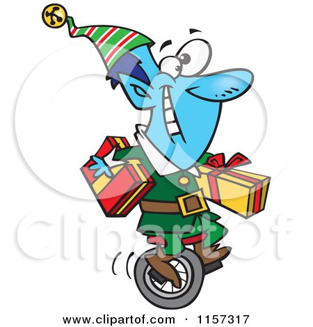 Cartoon of a Blue Christmas Elf Carrying Gifts on a Unicycle - Royalty Free Vector Clipart by toonaday
