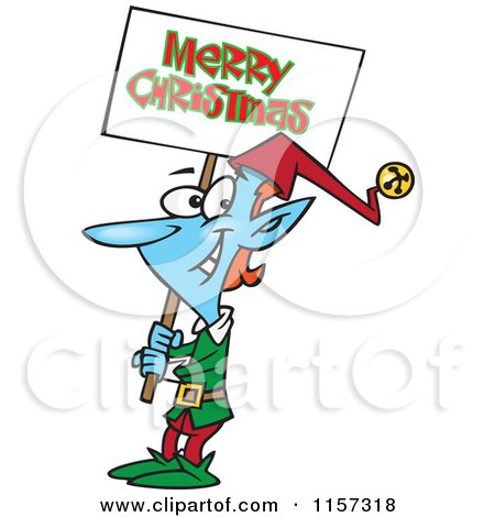 Cartoon of a Blue Elf Carrying a Merry Christmas Sign - Royalty Free Vector Clipart by toonaday