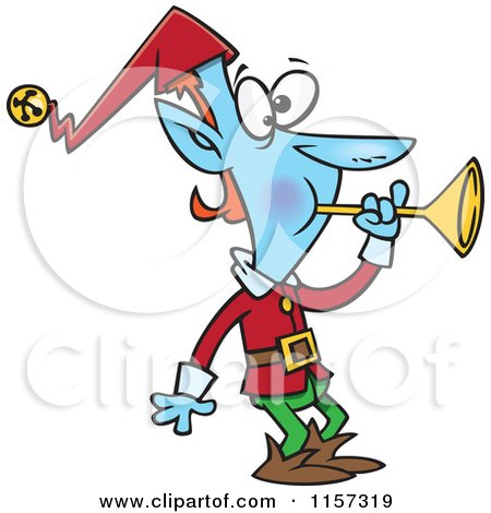 Cartoon of a Blue Christmas Elf Blowing a Horn - Royalty Free Vector Clipart by toonaday
