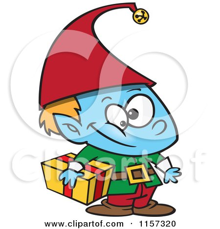 Cartoon of a Blue Christmas Elf Boy Carrying a Gift - Royalty Free Vector Clipart by toonaday