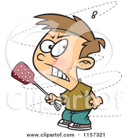 Cartoon of a Trying to Swat a Pesty Fly - Royalty Free Vector Clipart by toonaday