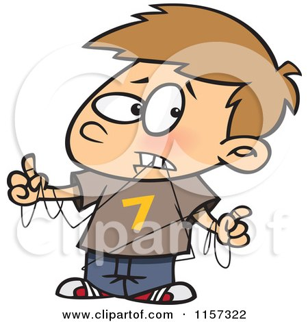 Cartoon of a Boy Tangled in Dental Floss - Royalty Free Vector Clipart by toonaday