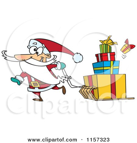 Cartoon of Santa Pulling Christmas Gifts on a Sled - Royalty Free Vector Clipart by toonaday