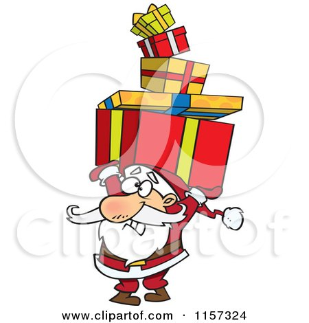 Cartoon of Santa Holding a Stack of Christmas Gifts over His Head - Royalty Free Vector Clipart by toonaday