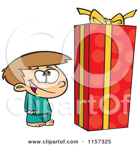Cartoon of a Boy Standing by a Large Christmas Gift Box - Royalty Free Vector Clipart by toonaday