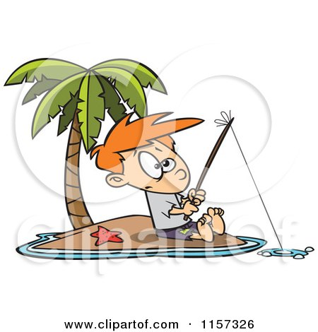 Cartoon of a Boy Fishing on a Tropical Island - Royalty Free Vector Clipart by toonaday