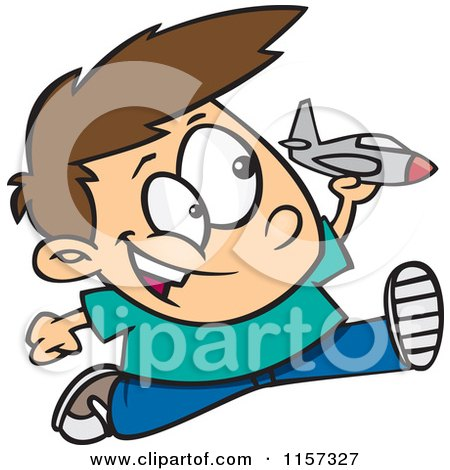 Cartoon of a Boy Running and Playing with a Toy Jet - Royalty Free Vector Clipart by toonaday