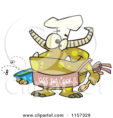 Cartoon of a Chef Monster Wearing a Kiss the Cook Apron - Royalty Free Vector Clipart by toonaday